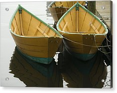 Dories At The Dock Acrylic Print by David Stone