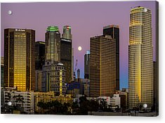 Downtown Los Angeles Moonrise Acrylic Print