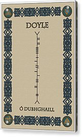 Acrylic Print featuring the digital art Doyle Written In Ogham by Ireland Calling