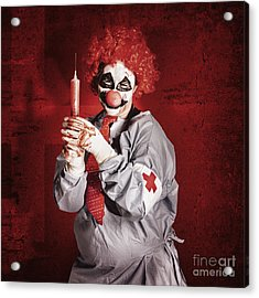 Dr Death Clown With Big Red Hypodermic Needle Acrylic Print