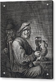 Drinking And Smoking, Man, Glas, Jug, Pipe, Pipe, Barrel Acrylic Print by Belgian School