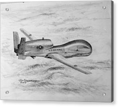 Acrylic Print featuring the drawing Drone Rq-4 Global Hawk by Jim Hubbard