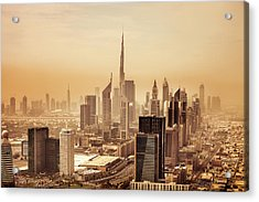 Dubai Downtown Skyscrapers And Office Acrylic Print by Leopatrizi