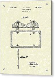 Duryea License Holder 1937 Patent Art Acrylic Print