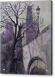 Acrylic Print featuring the painting Dusk At The Charles Bridge by Marina Gnetetsky