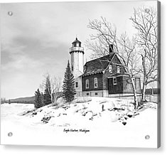 Eagle Harbor Lighthouse Titled Acrylic Print by Darren Kopecky