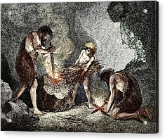 Early Humans Making Fire Acrylic Print by Sheila Terry