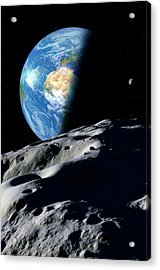 Earth And Asteroid Acrylic Print by Detlev Van Ravenswaay