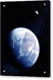 Earth And Moon Acrylic Print by Mark Garlick/science Photo Library
