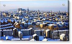 Edinburgh Winter Cityscape Acrylic Print by Craig B