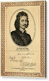 Edward Hyde, 1st Earl Of  Clarendon Acrylic Print by Mary Evans Picture Library