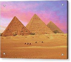 Egypt, Cairo, Giza, View Of All Three Acrylic Print by Miva Stock