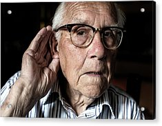 Elderly Man With Hearing Loss Acrylic Print by Mauro Fermariello