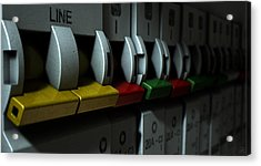 Electrical Circuit Breaker Panel Acrylic Print by Allan Swart