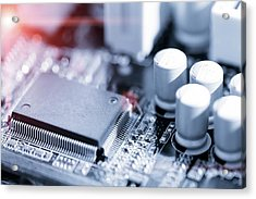 Electronic Chip Acrylic Print by Wladimir Bulgar