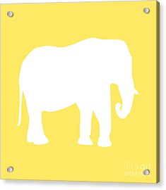 Elephant In Yellow And White Acrylic Print