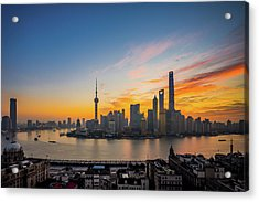 Elevated View Of Shanghai Skyline At Acrylic Print by Yongyuan Dai