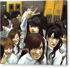 Elevator People People People Acrylic Print by Vanessa Baladad