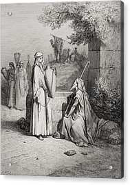 Eliezer And Rebekah Acrylic Print by Gustave Dore
