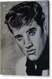Acrylic Print featuring the drawing Elvis Presley - America by Eric Dee