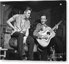 Elvis Presley And His Cousin Gene Smith 1956 Acrylic Print