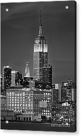 Empire And Chrysler Buildings Acrylic Print