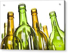 Empty Glass Wine Bottles Acrylic Print by Colin and Linda McKie