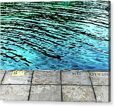 Empty Pier And River Water Acrylic Print