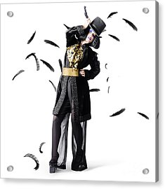 Entertainer Dancing Among Falling Feathers Acrylic Print