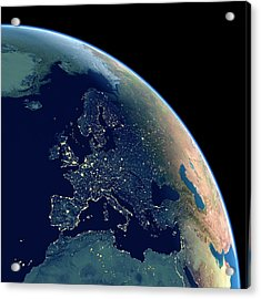 Europe At Night Acrylic Print by Planetary Visions Ltd/science Photo Library