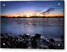 Acrylic Print featuring the photograph Evening At The Port Of Hamburg by Marc Huebner