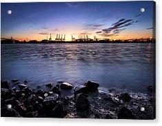 Evening At The Port Of Hamburg Acrylic Print by Marc Huebner