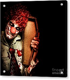 Evil Horrible Clown Holding Coffin In Darkness Acrylic Print by Jorgo Photography - Wall Art Gallery