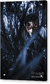 Evil Man Hiding In Silence At Dark Forest  Acrylic Print by Jorgo Photography - Wall Art Gallery