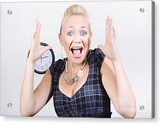 Excited Business Woman Screaming Out In Success Acrylic Print by Jorgo Photography - Wall Art Gallery