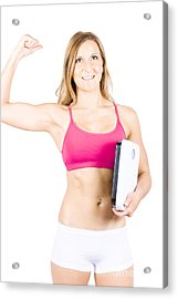 Excited Weight Loss Woman Over White Background Acrylic Print by Jorgo Photography - Wall Art Gallery