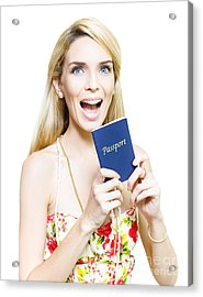 Excited Woman Clutching A Passport Acrylic Print by Jorgo Photography - Wall Art Gallery
