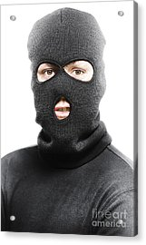 Face Of A Burglar Wearing A Ski Mask Or Balaclava Acrylic Print by Jorgo Photography - Wall Art Gallery