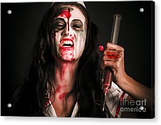 Face Of A Creepy Nurse Making Stab With Big Needle Acrylic Print