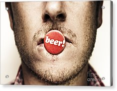 Face Of A Man With Beer Badge Acrylic Print