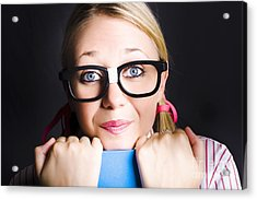 Face Of Smart Schoolgirl Holding Textbook On Black Acrylic Print