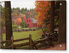 Fall Foliage Over A Red Wooden Home At Sturbridge Village Acrylic Print by Jeff Folger