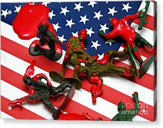 Fallen Toy Soliders On American Flag Acrylic Print by Amy Cicconi