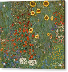 Farm Garden With Sunflowers Acrylic Print by Gustav Klimt