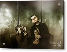 Father And Son In Gasmask. Nuclear Terror Attack Acrylic Print by Jorgo Photography - Wall Art Gallery