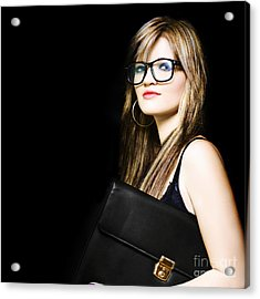 Female Art Student Holding Portfolio Compendium Acrylic Print by Jorgo Photography - Wall Art Gallery