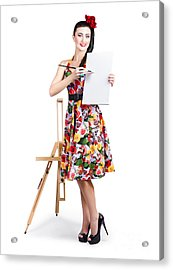 Female Artist Painting Message On Blank Canvas  Acrylic Print by Jorgo Photography - Wall Art Gallery