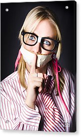 Female Business Nerd With Quiet Gesture Acrylic Print by Jorgo Photography - Wall Art Gallery