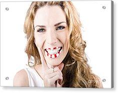 Female Cosmetics Model Wearing Creative Make Up Acrylic Print