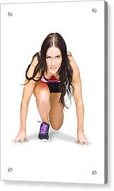 Female Marathon Runner On White Background Acrylic Print by Jorgo Photography - Wall Art Gallery